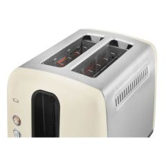 Beko TAM7201C Traditional 2 Slice Toaster in Cream with Defrost, Reheat and Cancel Functions