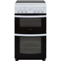 Indesit ID5V92KMW 50Cm Twin Cavity Electric Cooker With Ceramic Hob - White - A Rated