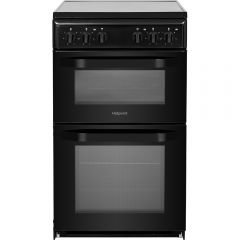 Hotpoint HD5V92KCB 50Cm Twin Cavity Ceramic Cooker