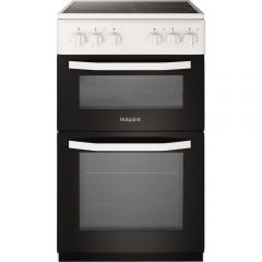 Hotpoint HD5V92KCW 50Cm Ceramic Twin Cavity Cooker Catalytic All Sides