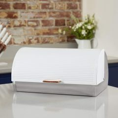 Tower TOWT826000W White And Rose Gold Bread Bin