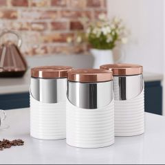 Tower TOWT826001W Set Of 3 Cannisters White